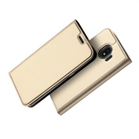 Тонкий Флип Чехол Книжка с Скрытым Магнитом и Отделением для Карты для Samsung Galaxy J4 2018 SM-J400 Золотой