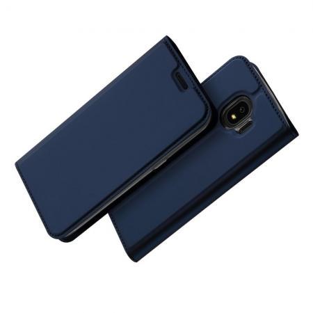 Тонкий Флип Чехол Книжка с Скрытом Магнитом и Отделением для Карты для Samsung Galaxy J4 2018 SM-J400 Синий