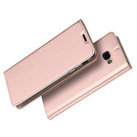 Тонкий Флип Чехол Книжка с Скрытым Магнитом и Отделением для Карты для Samsung Galaxy J4 Plus SM-J415 Розовое Золото