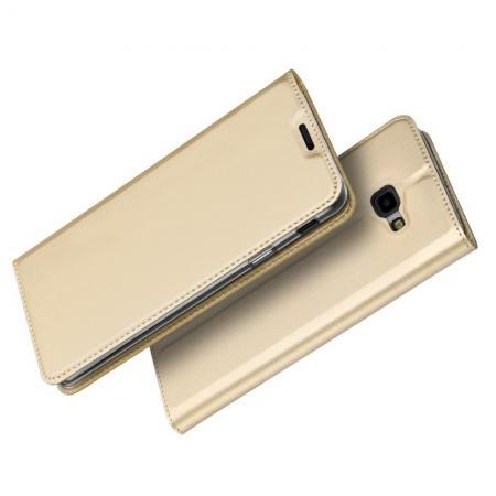 Тонкий Флип Чехол Книжка с Скрытым Магнитом и Отделением для Карты для Samsung Galaxy J4 Plus SM-J415 Золотой