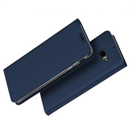Тонкий Флип Чехол Книжка с Скрытым Магнитом и Отделением для Карты для Samsung Galaxy J4 Plus SM-J415 Синий