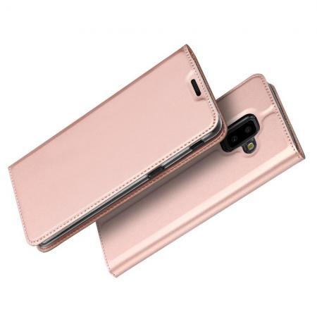 Тонкий Флип Чехол Книжка с Скрытым Магнитом и Отделением для Карты для Samsung Galaxy J6+ 2018 SM-J610F Розовое Золото