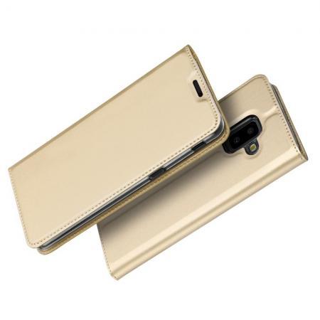 Тонкий Флип Чехол Книжка с Скрытым Магнитом и Отделением для Карты для Samsung Galaxy J6+ 2018 SM-J610F Золотой