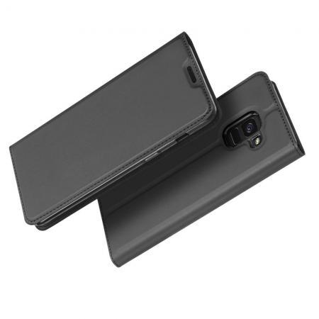 Тонкий Флип Чехол Книжка с Скрытым Магнитом и Отделением для Карты для Samsung Galaxy J6 SM-J600 Черный