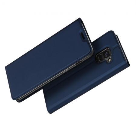 Тонкий Флип Чехол Книжка с Скрытым Магнитом и Отделением для Карты для Samsung Galaxy J6 SM-J600 Синий