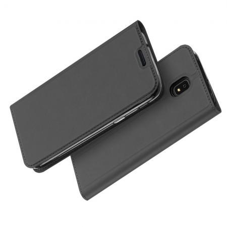 Тонкий Флип Чехол Книжка с Скрытом Магнитом и Отделением для Карты для Samsung Galaxy J7 2018 Черный