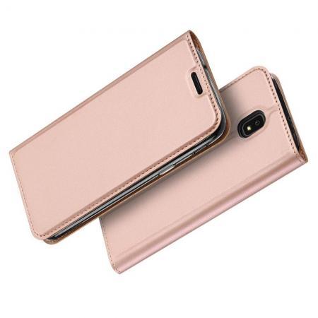Тонкий Флип Чехол Книжка с Скрытом Магнитом и Отделением для Карты для Samsung Galaxy J7 2018 Розовое Золото