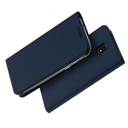 Тонкий Флип Чехол Книжка с Скрытом Магнитом и Отделением для Карты для Samsung Galaxy J7 2018 Синий
