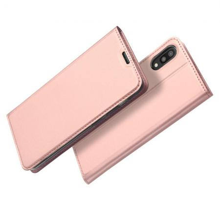 Тонкий Флип Чехол Книжка с Скрытом Магнитом и Отделением для Карты для Samsung Galaxy M10 Розовое Золото