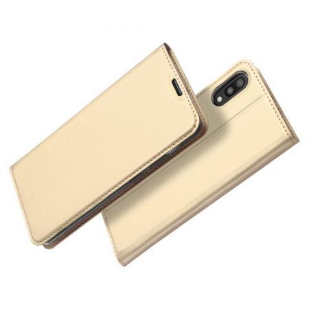 Тонкий Флип Чехол Книжка с Скрытом Магнитом и Отделением для Карты для Samsung Galaxy M10 Золотой