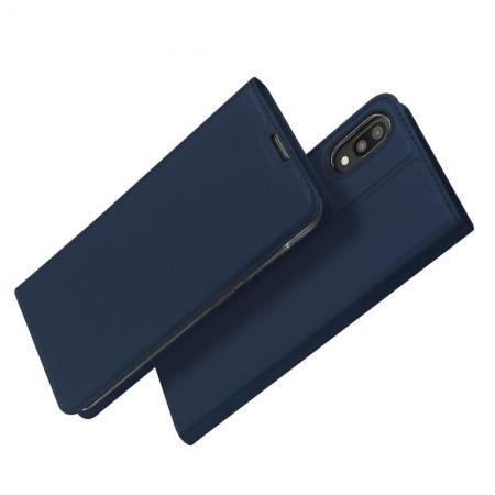 Тонкий Флип Чехол Книжка с Скрытом Магнитом и Отделением для Карты для Samsung Galaxy M10 Синий