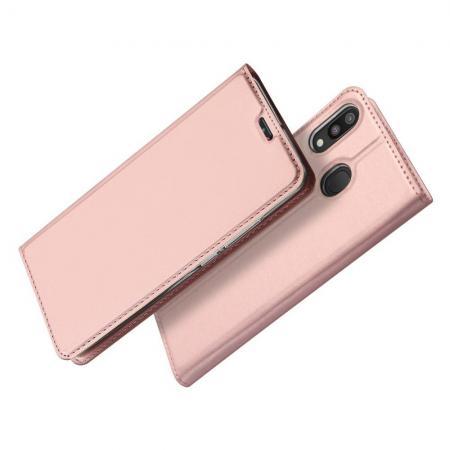 Тонкий Флип Чехол Книжка с Скрытым Магнитом и Отделением для Карты для Samsung Galaxy M20 Розовое Золото