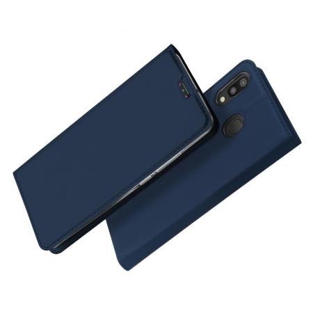Тонкий Флип Чехол Книжка с Скрытым Магнитом и Отделением для Карты для Samsung Galaxy M20 Синий