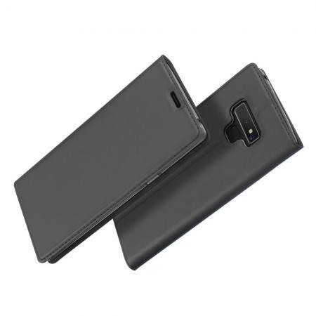 Тонкий Флип Чехол Книжка с Скрытым Магнитом и Отделением для Карты для Samsung Galaxy Note 9 Черный
