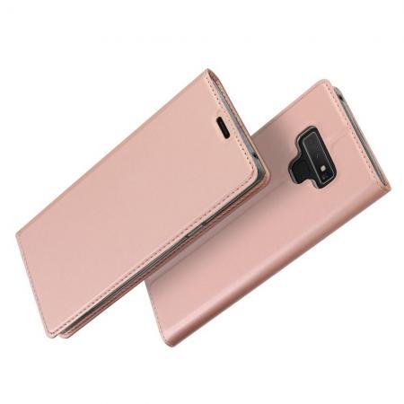 Тонкий Флип Чехол Книжка с Скрытым Магнитом и Отделением для Карты для Samsung Galaxy Note 9 Розовое Золото