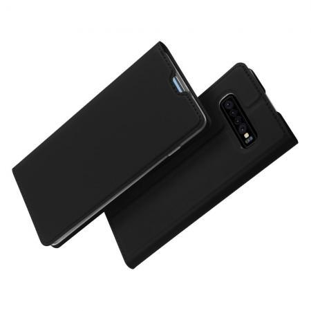 Тонкий Флип Чехол Книжка с Скрытым Магнитом и Отделением для Карты для Samsung Galaxy S10 Plus Черный