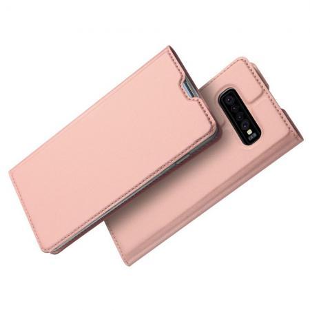 Тонкий Флип Чехол Книжка с Скрытым Магнитом и Отделением для Карты для Samsung Galaxy S10 Plus Розовое Золото