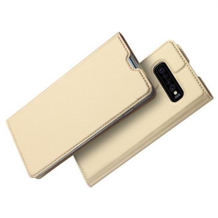 Тонкий Флип Чехол Книжка с Скрытым Магнитом и Отделением для Карты для Samsung Galaxy S10 Plus Золотой
