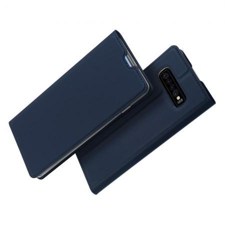 Тонкий Флип Чехол Книжка с Скрытым Магнитом и Отделением для Карты для Samsung Galaxy S10 Plus Синий