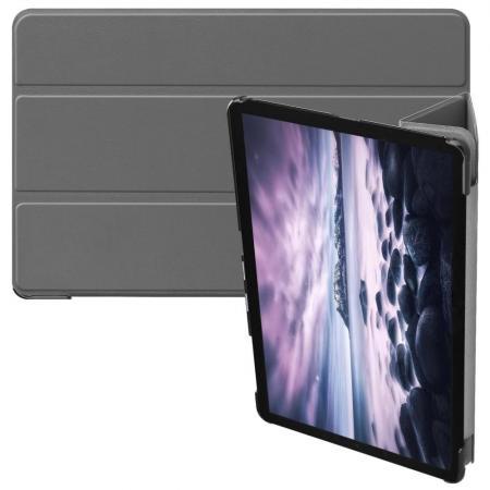 Тонкий Флип Чехол Книжка с Скрытом Магнитом для Samsung Galaxy Tab A 10.5 SM-T595 SM-T590 Серый