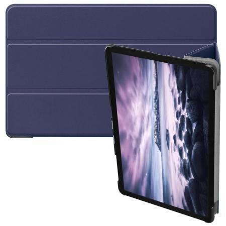 Тонкий Флип Чехол Книжка с Скрытом Магнитом для Samsung Galaxy Tab A 10.5 SM-T595 SM-T590 Синий