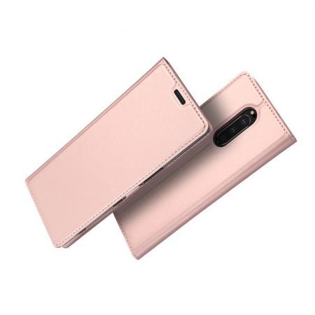 Тонкий Флип Чехол Книжка с Скрытым Магнитом и Отделением для Карты для Sony Xperia 1 Розовое Золото