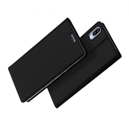 Тонкий Флип Чехол Книжка с Скрытым Магнитом и Отделением для Карты для Sony Xperia L3 Черный