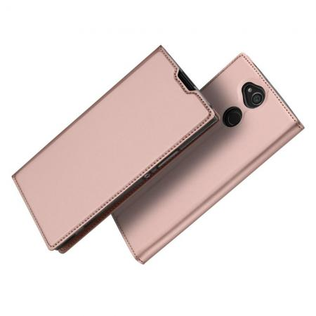 Тонкий Флип Чехол Книжка с Скрытым Магнитом и Отделением для Карты для Sony Xperia XA2 Розовое Золото