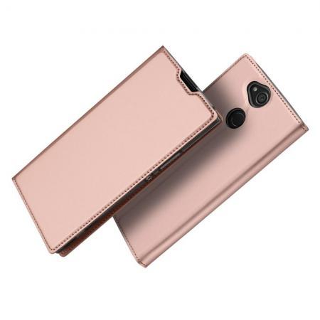 Тонкий Флип Чехол Книжка с Скрытым Магнитом и Отделением для Карты для Sony Xperia XA2 Plus Розовое Золото