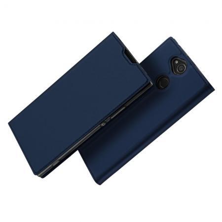 Тонкий Флип Чехол Книжка с Скрытым Магнитом и Отделением для Карты для Sony Xperia XA2 Plus Синий