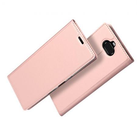 Тонкий Флип Чехол Книжка с Скрытым Магнитом и Отделением для Карты для Sony Xperia 10 Plus Розовое Золото