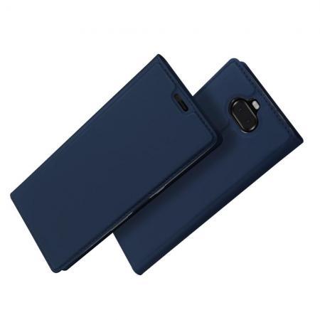 Тонкий Флип Чехол Книжка с Скрытым Магнитом и Отделением для Карты для Sony Xperia 10 Plus Синий