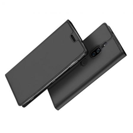 Тонкий Флип Чехол Книжка с Скрытым Магнитом и Отделением для Карты для Sony Xperia XZ2 Premium Черный