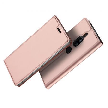 Тонкий Флип Чехол Книжка с Скрытым Магнитом и Отделением для Карты для Sony Xperia XZ2 Premium Розовое Золото