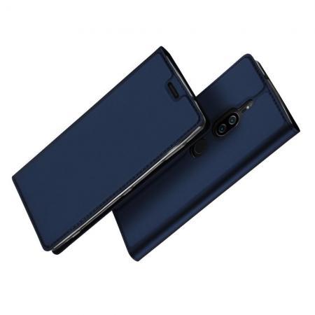 Тонкий Флип Чехол Книжка с Скрытым Магнитом и Отделением для Карты для Sony Xperia XZ2 Premium Синий