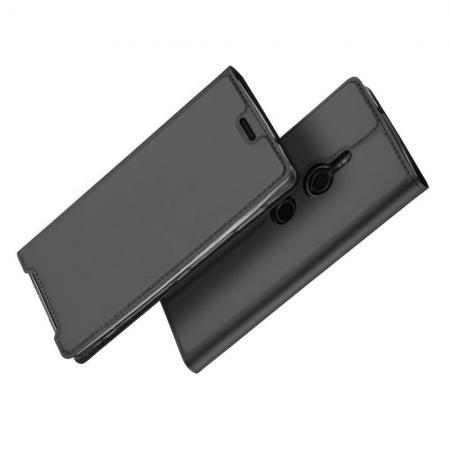 Тонкий Флип Чехол Книжка с Скрытым Магнитом и Отделением для Карты для Sony Xperia XZ3 Черный