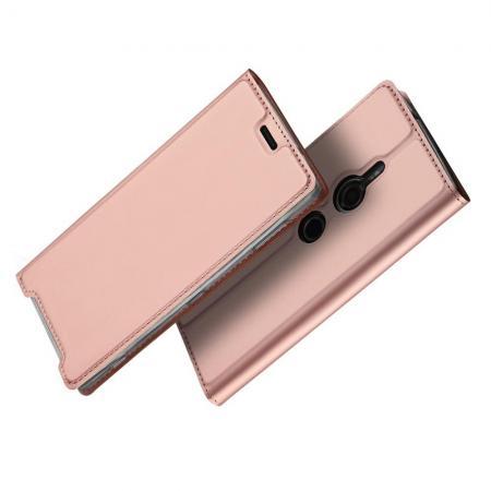 Тонкий Флип Чехол Книжка с Скрытым Магнитом и Отделением для Карты для Sony Xperia XZ3 Розовое Золото