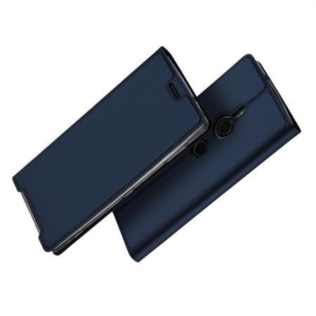 Тонкий Флип Чехол Книжка с Скрытым Магнитом и Отделением для Карты для Sony Xperia XZ3 Синий