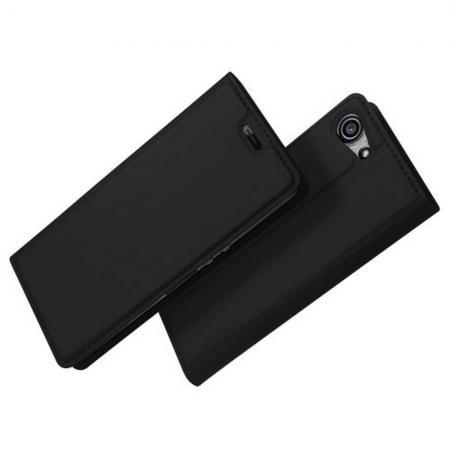 Тонкий Флип Чехол Книжка с Скрытым Магнитом и Отделением для Карты для Sony Xperia XZ4 Compact Черный