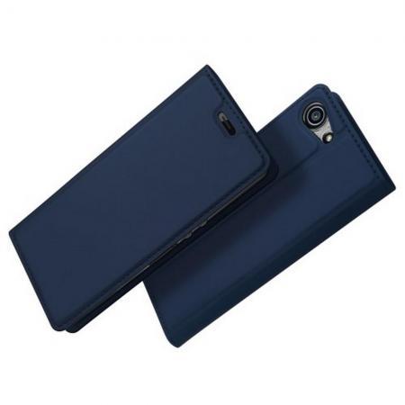 Тонкий Флип Чехол Книжка с Скрытым Магнитом и Отделением для Карты для Sony Xperia XZ4 Compact Синий