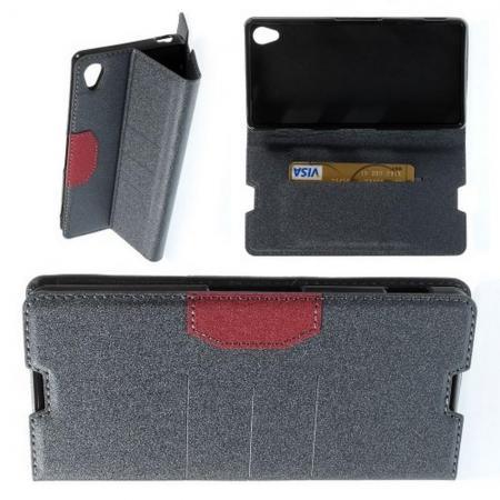 Тонкий Флип Чехол Книжка с Скрытым Магнитом и Отделением для Карты для Sony Xperia Z3 Серый
