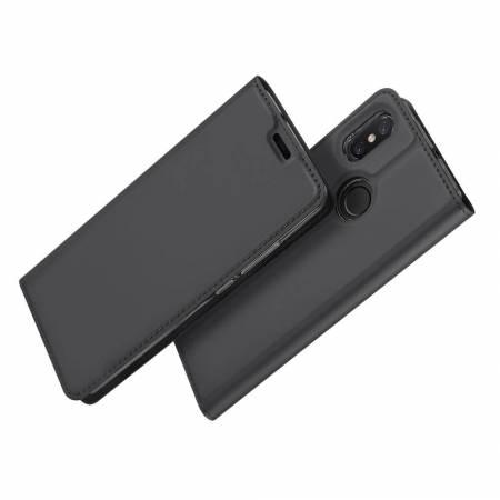Тонкий Флип Чехол Книжка с Скрытым Магнитом и Отделением для Карты для Xiaomi Mi 8 Черный