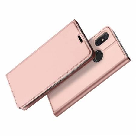 Тонкий Флип Чехол Книжка с Скрытым Магнитом и Отделением для Карты для Xiaomi Mi 8 Розовое Золото