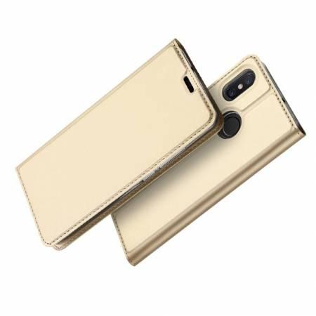 Тонкий Флип Чехол Книжка с Скрытым Магнитом и Отделением для Карты для Xiaomi Mi 8 Золотой