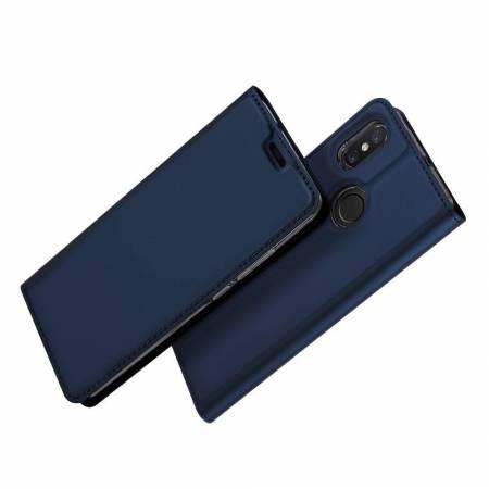 Тонкий Флип Чехол Книжка с Скрытым Магнитом и Отделением для Карты для Xiaomi Mi 8 Синий