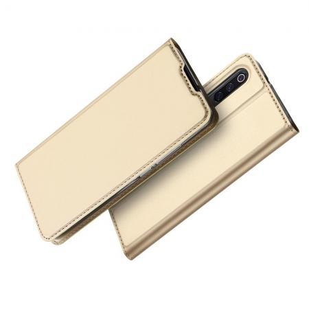 Тонкий Флип Чехол Книжка с Скрытым Магнитом и Отделением для Карты для Xiaomi Mi 9 Золотой