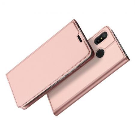 Тонкий Флип Чехол Книжка с Скрытым Магнитом и Отделением для Карты для Xiaomi Mi A2 Lite / Redmi 6 Pro Розовое Золото