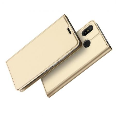 Тонкий Флип Чехол Книжка с Скрытым Магнитом и Отделением для Карты для Xiaomi Mi A2 Lite / Redmi 6 Pro Золотой
