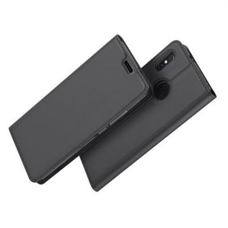 Тонкий Флип Чехол Книжка с Скрытым Магнитом и Отделением для Карты для Xiaomi Mi A2 / Mi 6X Черный