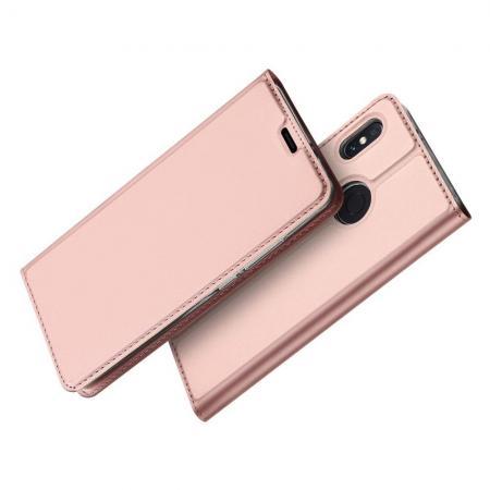 Тонкий Флип Чехол Книжка с Скрытым Магнитом и Отделением для Карты для Xiaomi Mi A2 / Mi 6X Розовое Золото